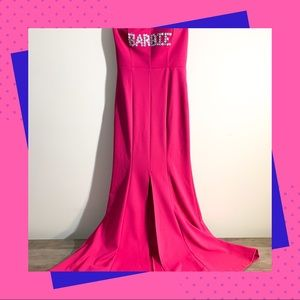 Crystal Barbie Pink Mermaid Dress w/ Front Slit
